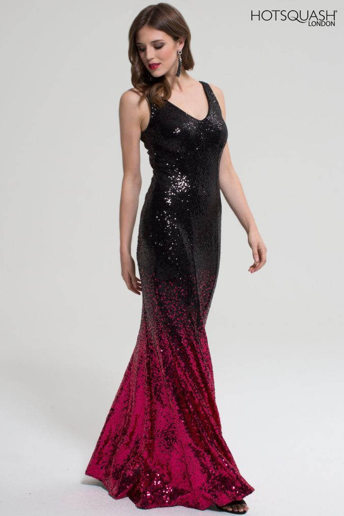 6a2d7cd9021 Womens HotSquash Black Red V-Neck Sequin Maxi Dress - Red