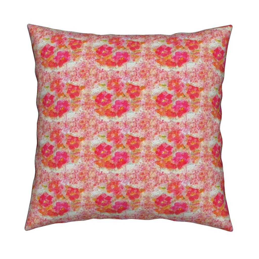 Catalan Throw Pillow featuring POPPY FIELDS Vibrant Pink Spring  poppies by paysmage   Roostery Home Decor