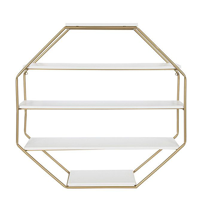 Kate And Laurel Lintz Large Octagon Floating Wall Shelves With Metal Frame Gold And White Floating Wall Shelves Wall Shelves Wall Shelf Decor