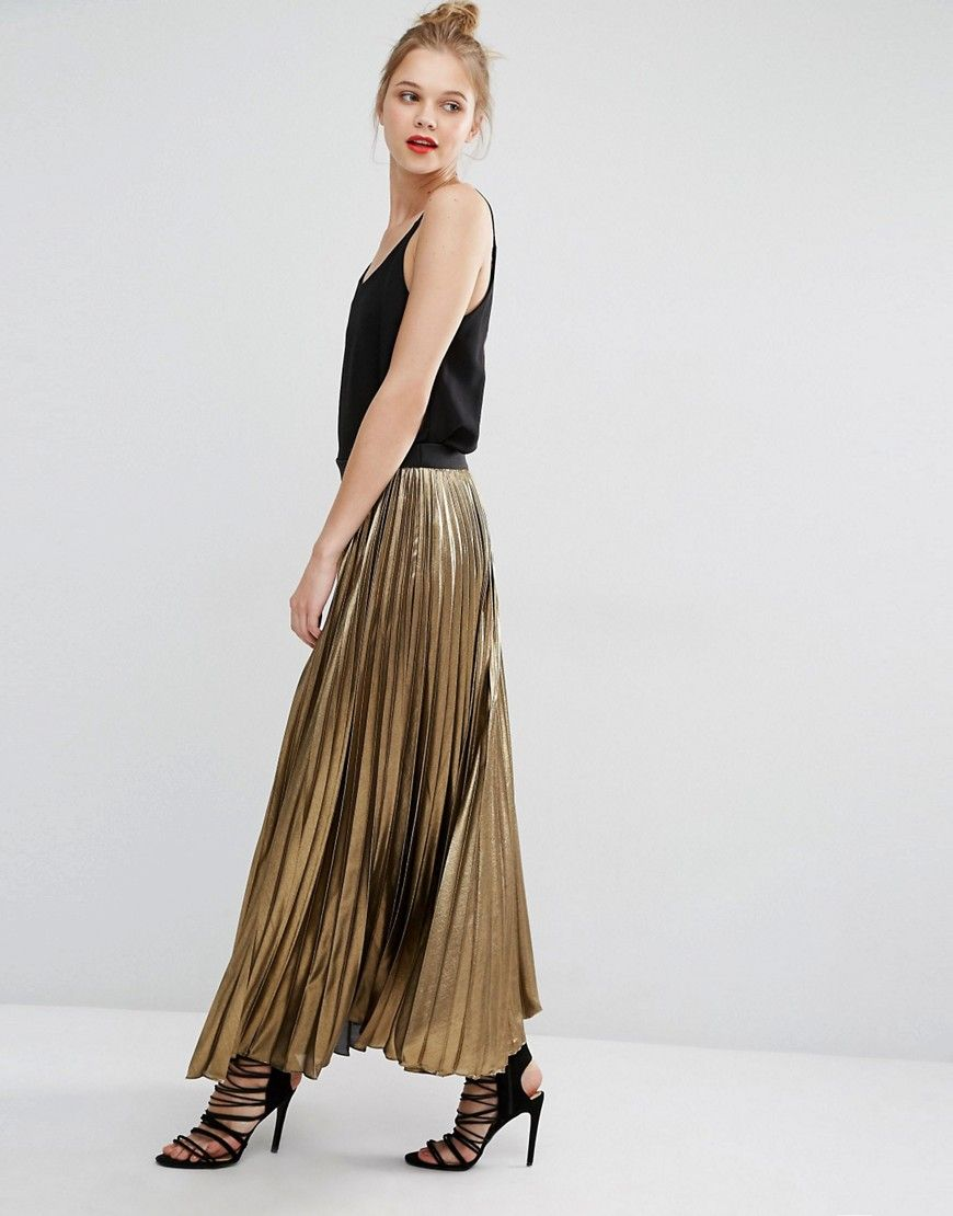 bcbg max azria dallin maxi skirt in gold metallic pleat
