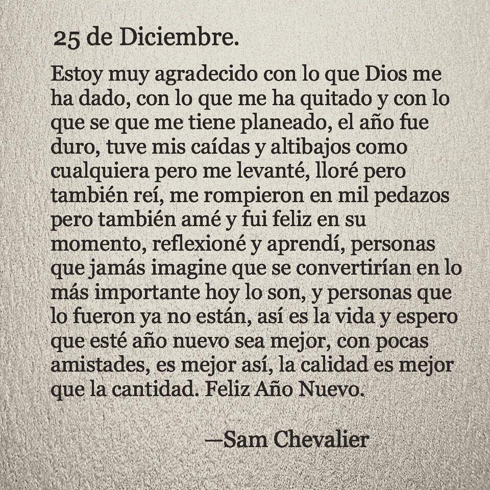 Feliz Año Nuevo Lectores Samchevalier