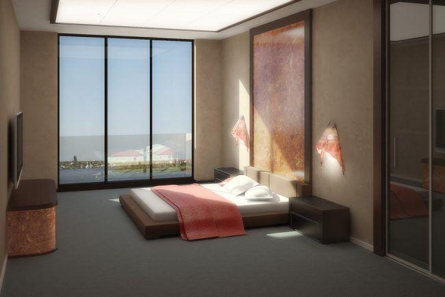 Schlafzimmer Design ~ Wohnideen für schlafzimmer design modern zartrosa fensterwand
