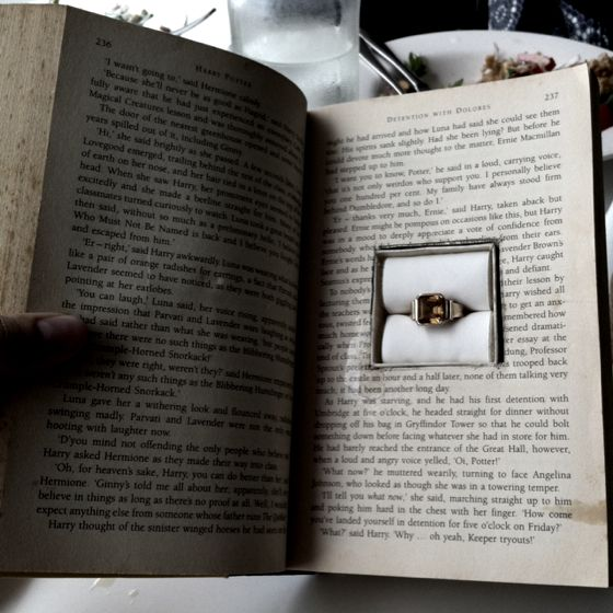 Embed the engagement ring in a book as part of your marriage