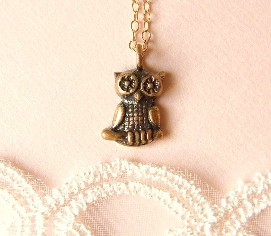 Wise Owl Necklace . little antiqued brass owl on gold filled chain . CocoroJewelry on Etsy