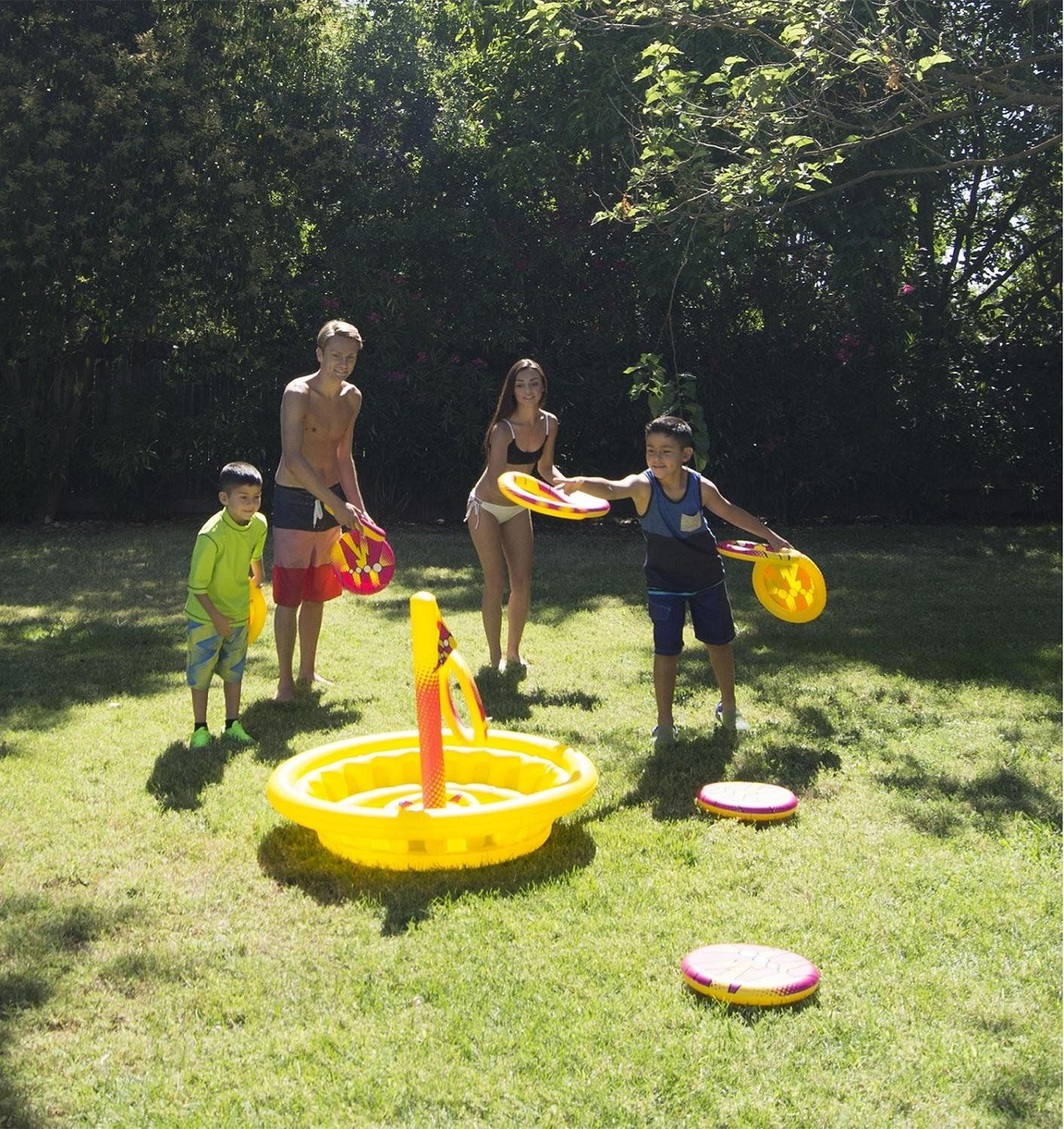 49 Inflatable Yellow and Red Swimming Pool or Yard Disc