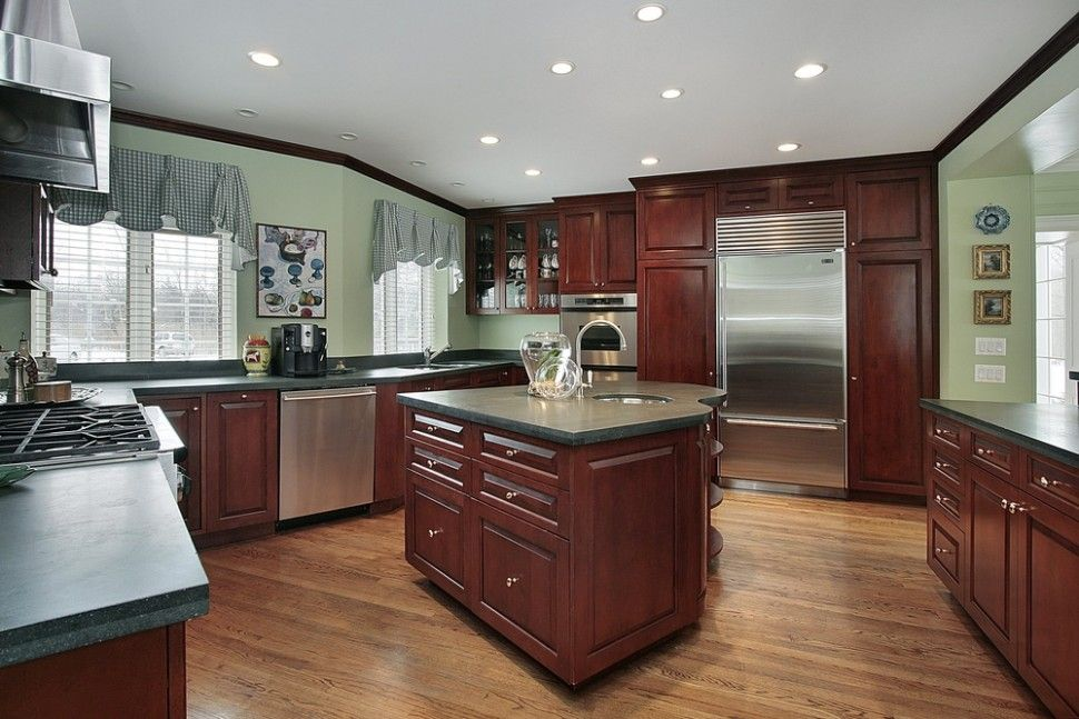 Kitchen Kitchen Color Schemes With Cherry Cabinets Also Metal Countertops And Kitchen Island With Green Countertops Cherry Cabinets Kitchen Dark Wood Kitchens