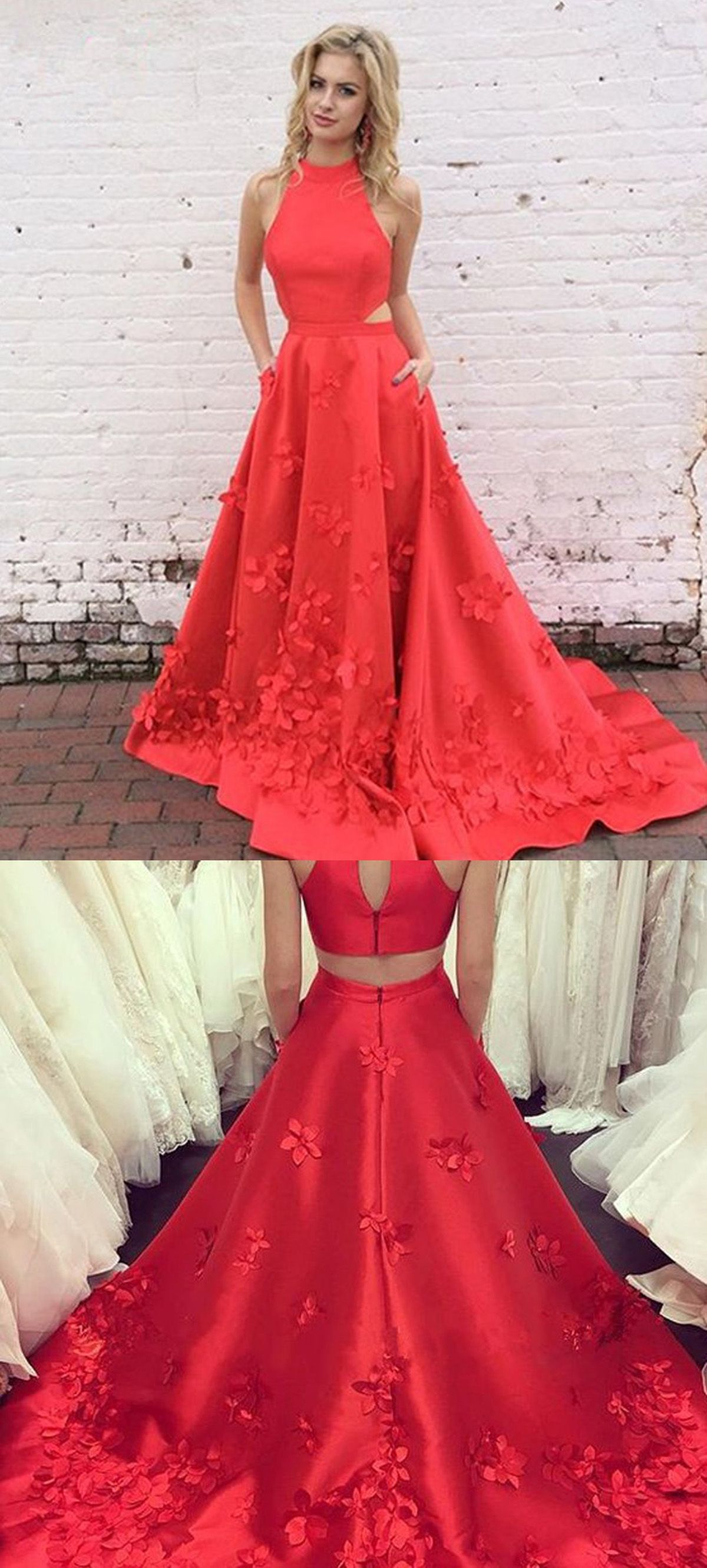 Aline high neck keyhole back long red satin prom dress with appliques