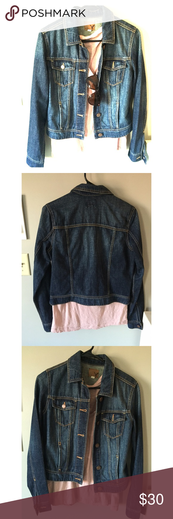 AE Denim Jacket American Eagle Denim Jacket - worn once, perfect condition! American Eagle Outfitters Jackets & Coats Jean Jackets