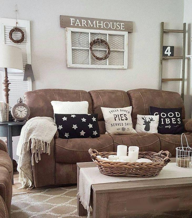 Wohnzimmer Dekor mit braunen Möbeln Neue Dekoration ideen 2018 - Wohnzimmer Braunes Sofa