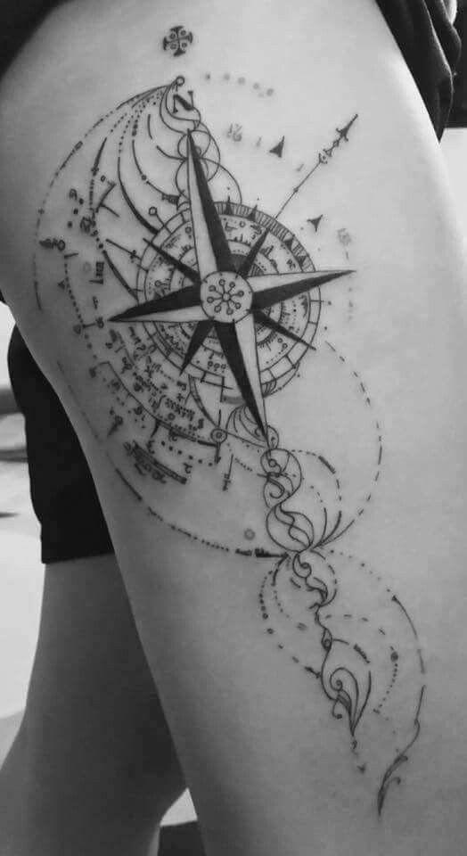 Amazing thigh tatt doing it pinterest tatouages id es de tatouages et rose des vents - Tatouage rose des vent ...