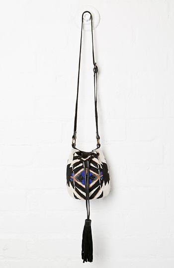 Beaded Tribal Bucket Bag in Black   White  388452ccda563