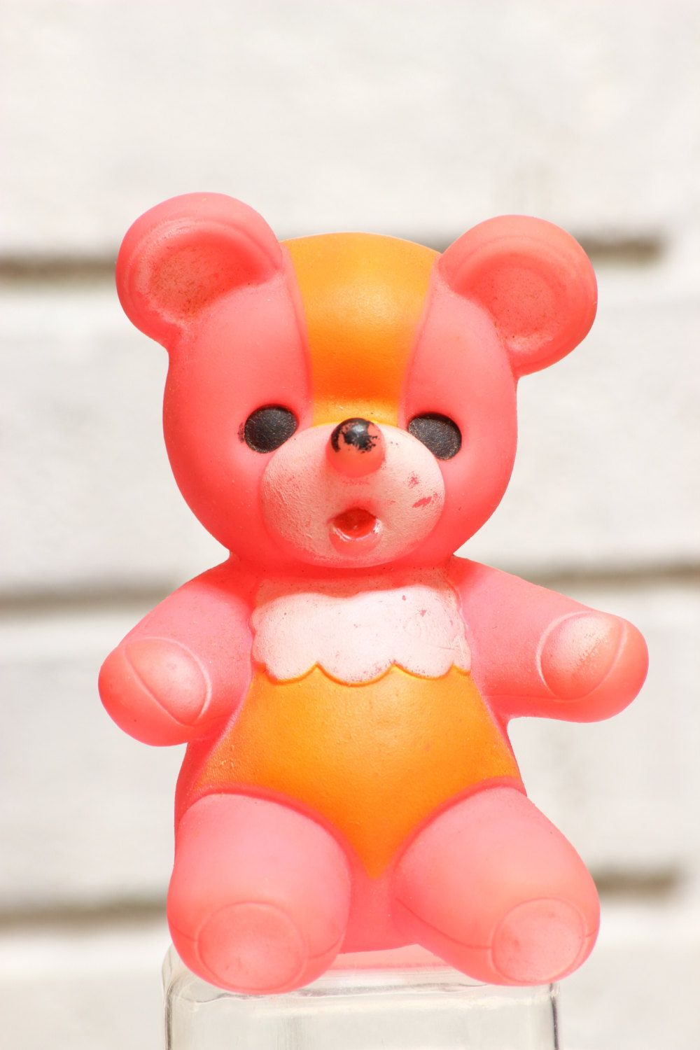 Vintage Pink Teddy Bear Baby Toy Squeaky Rubber Toy By