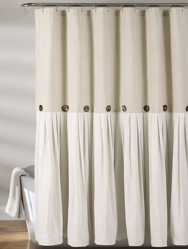 Linen Shower Curtain With Buttons In 2020 Farmhouse Shower