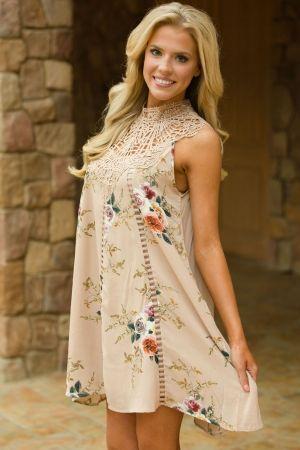 Apricot Crochet Lace Neck Floral Dress