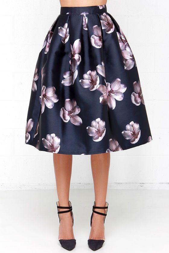 Fallen Petal Navy Blue Floral Print Midi Skirt | Print..., Midi ...