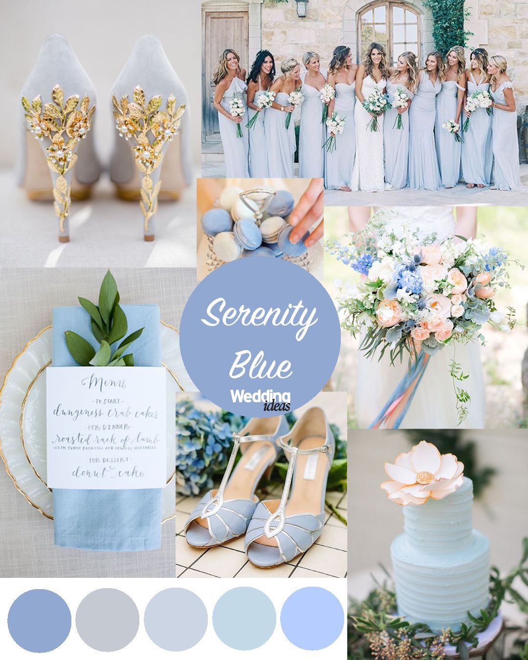 Pantone colours of the year rose quartz serenity blue for Wedding color scheme ideas