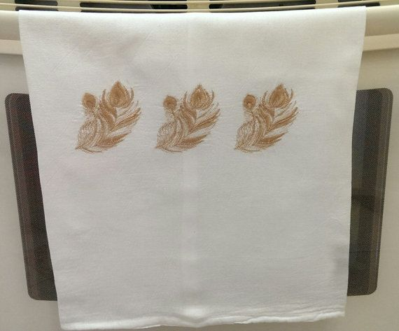 Towel Dish Hand Towel White Flour Sack Towel by IdleTymeCreations
