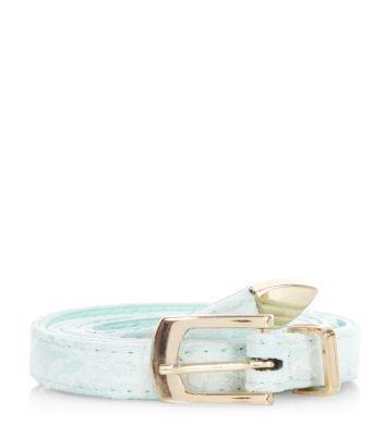 Mint Green Lace Belt new look