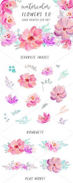 Free Watercolor Flower Clip Art Wasserfarbenblumen Blumen