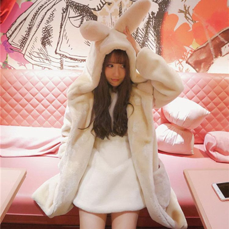 5 Colors Super Fluffy Plush Bunny Ears Hoodie Coat SP154556