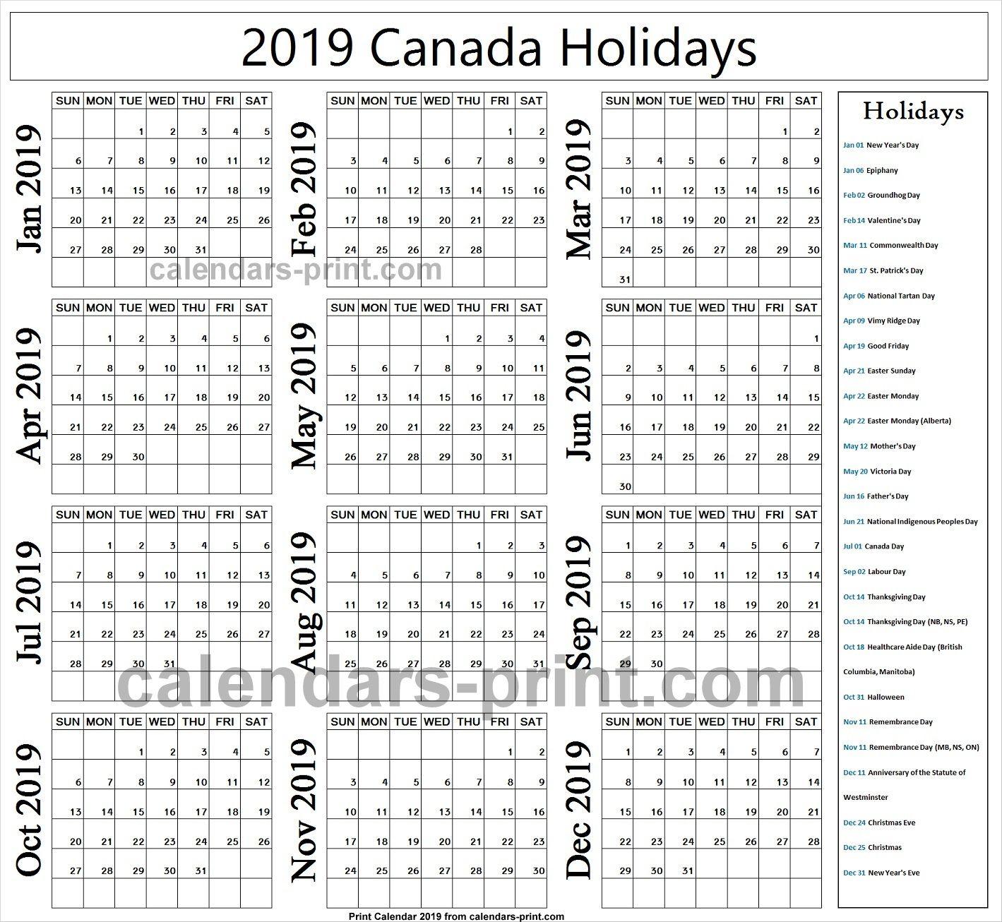 2019 Stat Holidays Canada Holiday Calendar Canada Holiday Free