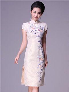 Women's Polyester White Knee-length Beading Cheongsam Dress