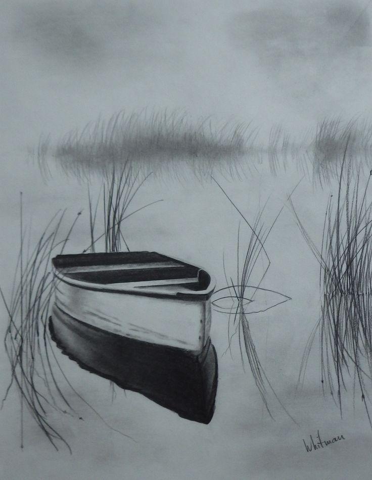 Misty Ruderboot auf dem See, Reflexionen, Skizze. Ursprüngliche Kunst, Graphitbleistiftzeichnung von Elena Whitman. – Mickey - Tagliches Pin Blog #pencildrawingtutorials