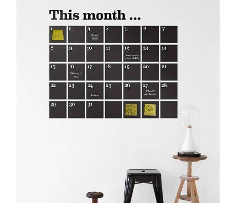 Ferm Living Muursticker This Month zwart krijtbord vinyl 100x98cm