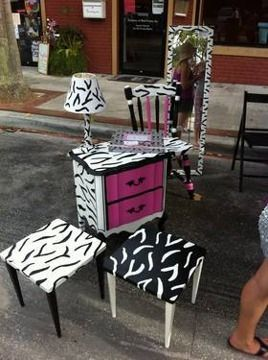 Hand Painted Furniture | 250 Zebra Furniture Hand Painted For Sale In Tarpon  Springs, Florida