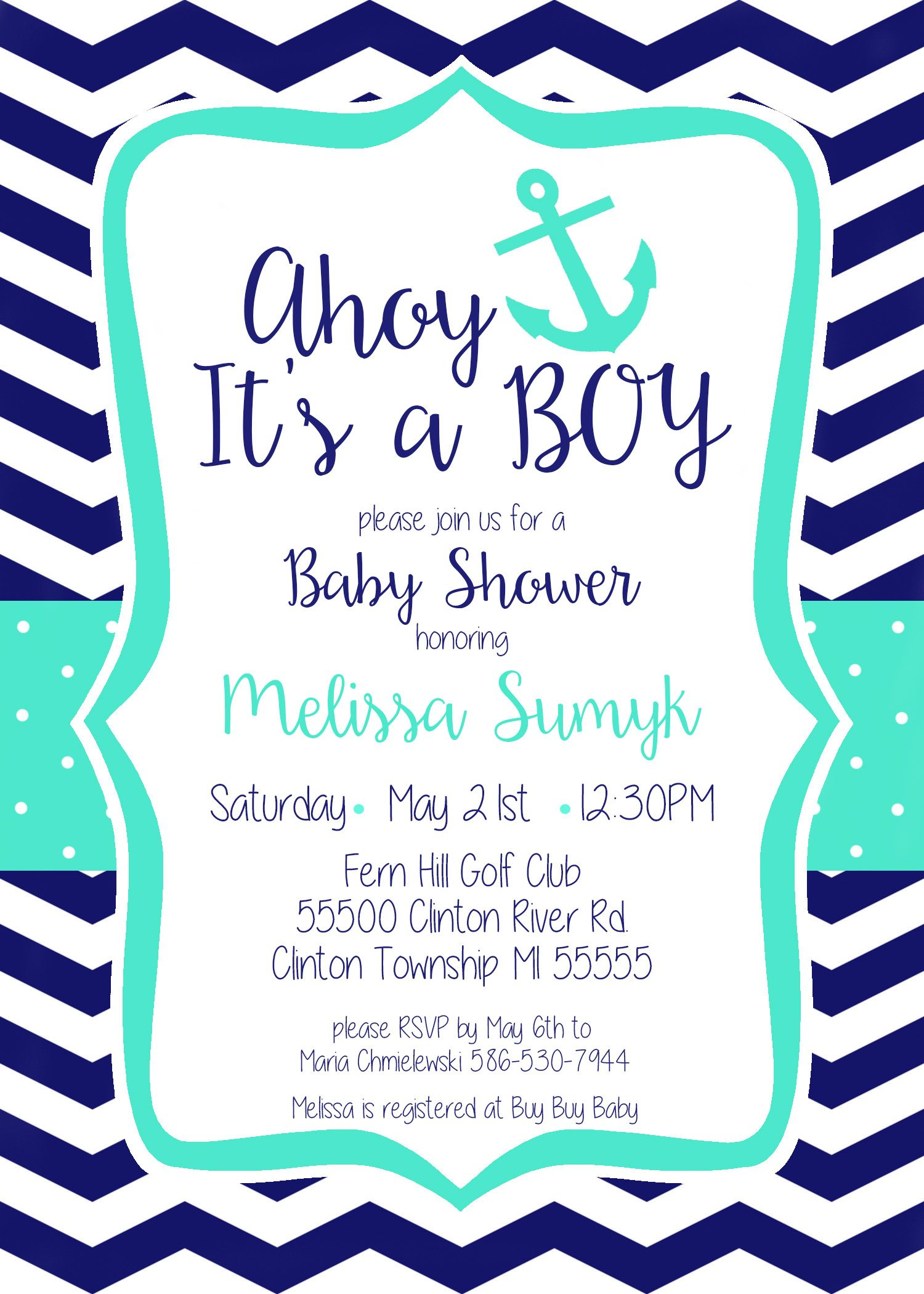Ahoy, It\'s a Boy! Nautical Themed Printable Baby Shower Invitation ...