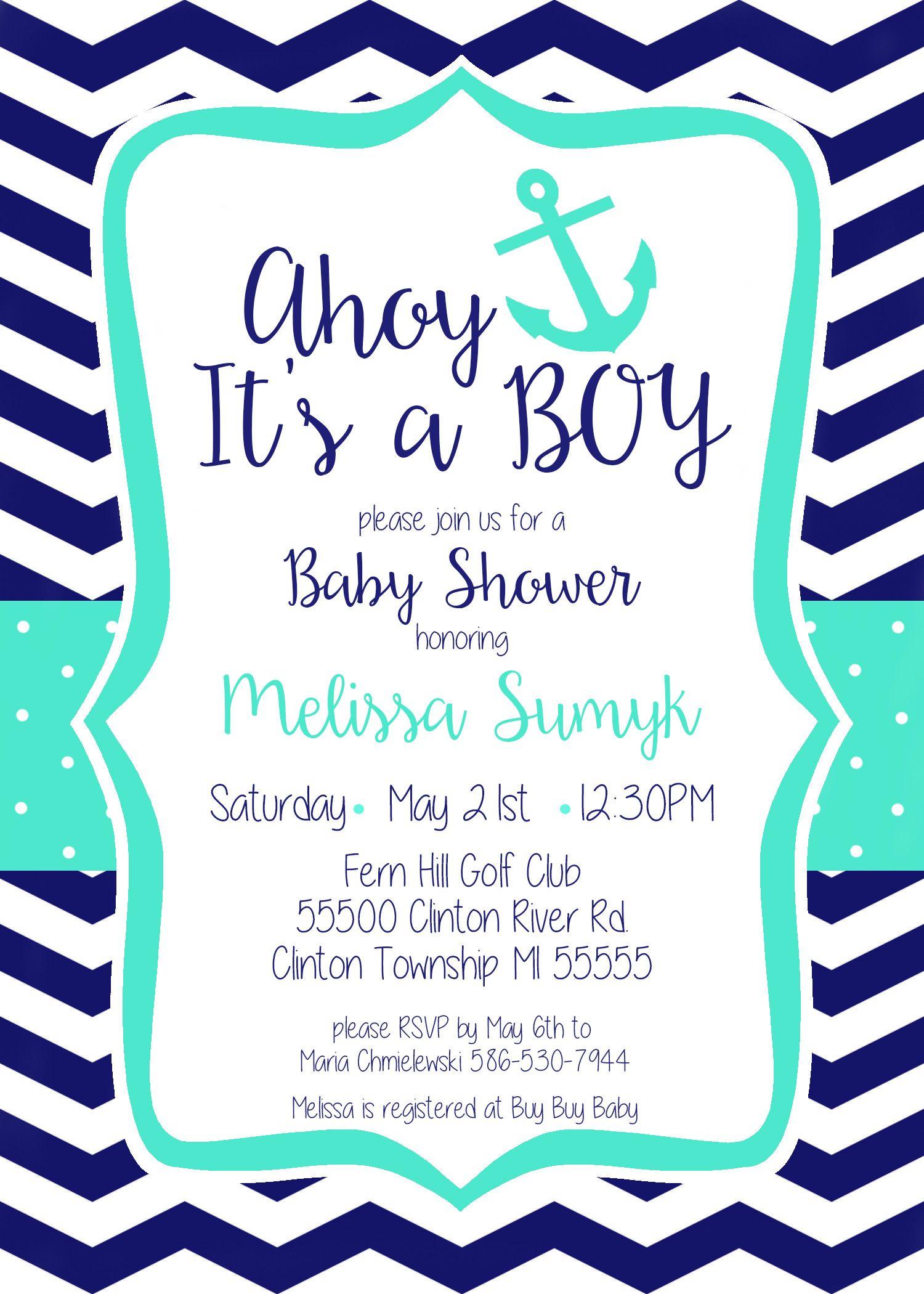 Ahoy, It\'s A Boy!! Nautical themed baby shower invitation. Printable ...