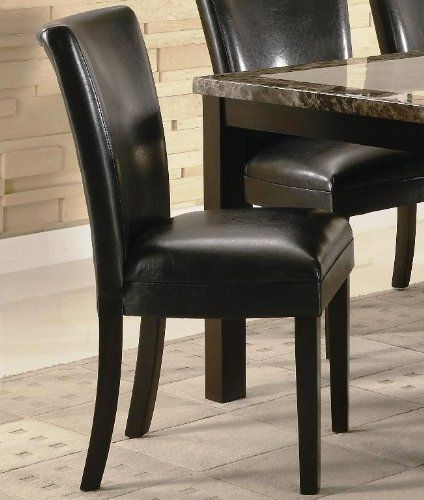 set of 2 parson dining chairs in black faux leather - http://www