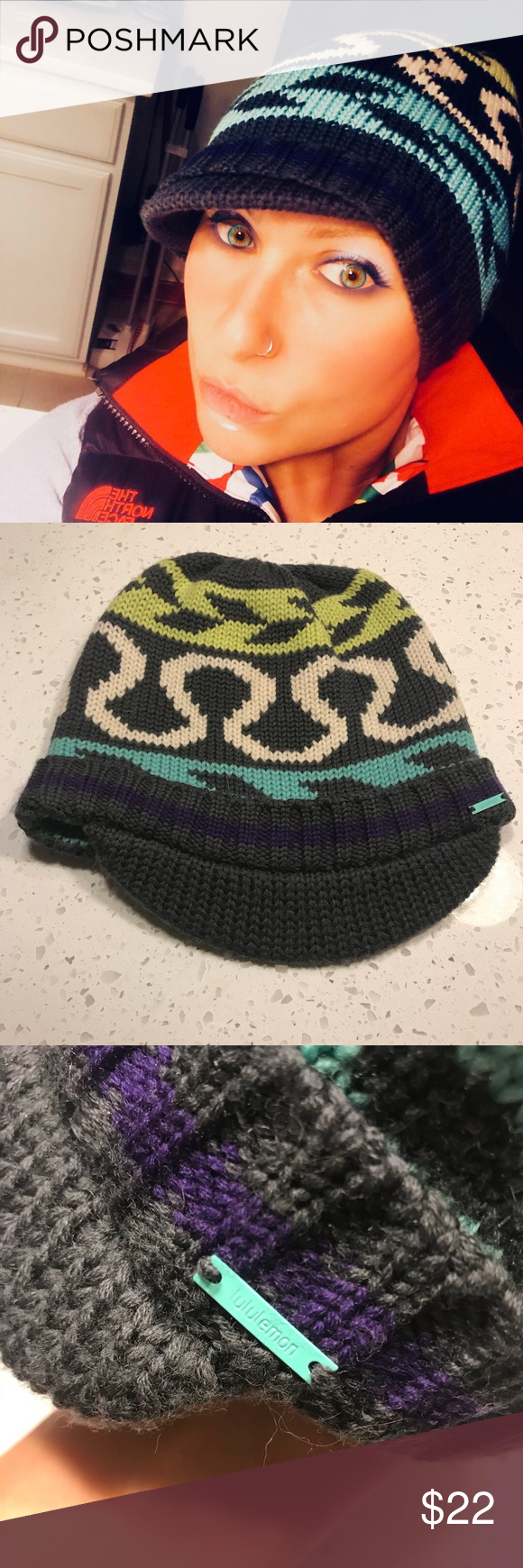 98a489bc43200 Super cute Lululemon beanie. Colorful and soft Lululemon beanie with a  little brim. Perfect call condition