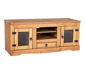 mueble para tv con puertas de madera de pino y cristal chris