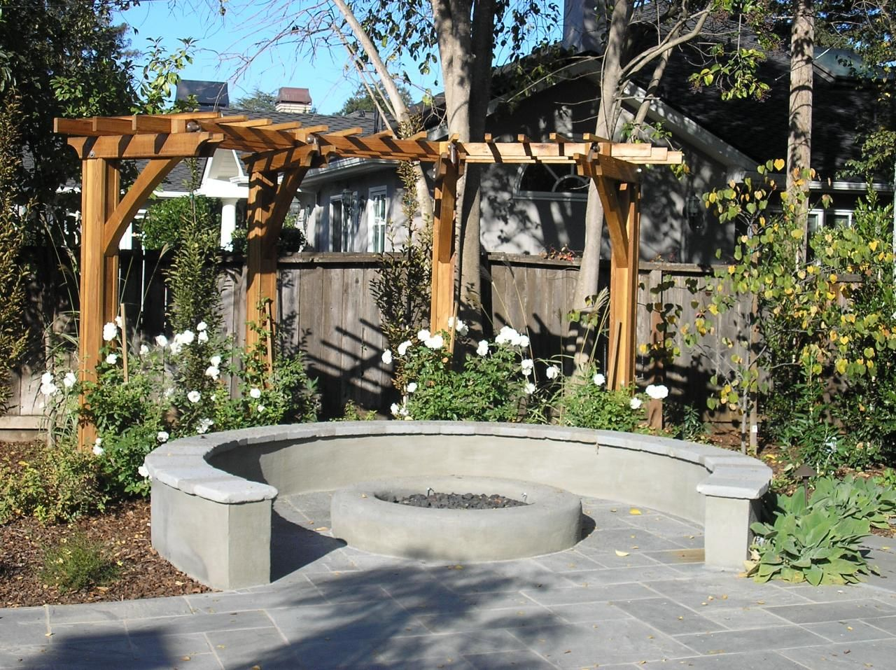 firepit with arbor behind fire pit landscaping gazebo on backyard fire pit landscaping id=15425