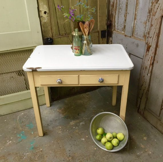 Farmhouse Kitchen Table With Drawers: Yellow Enamel Top Table, Small Vintage Farmhouse Kitchen