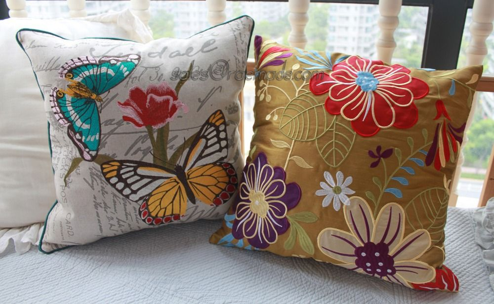 Colorful Applique Floral Poly Silk PILLOW Embroidery Accent DECORATIVE PILLOW 18x18