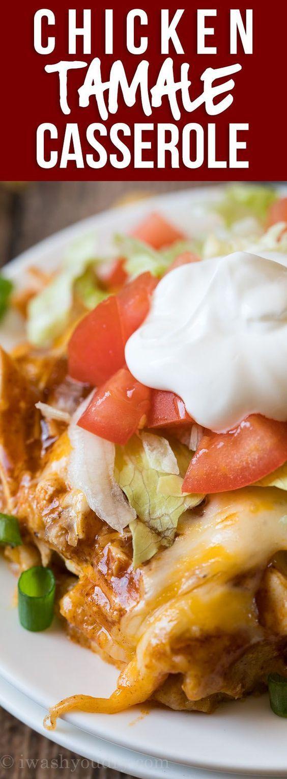 Chicken Tamale Casserole #easymexicanfoodrecipes