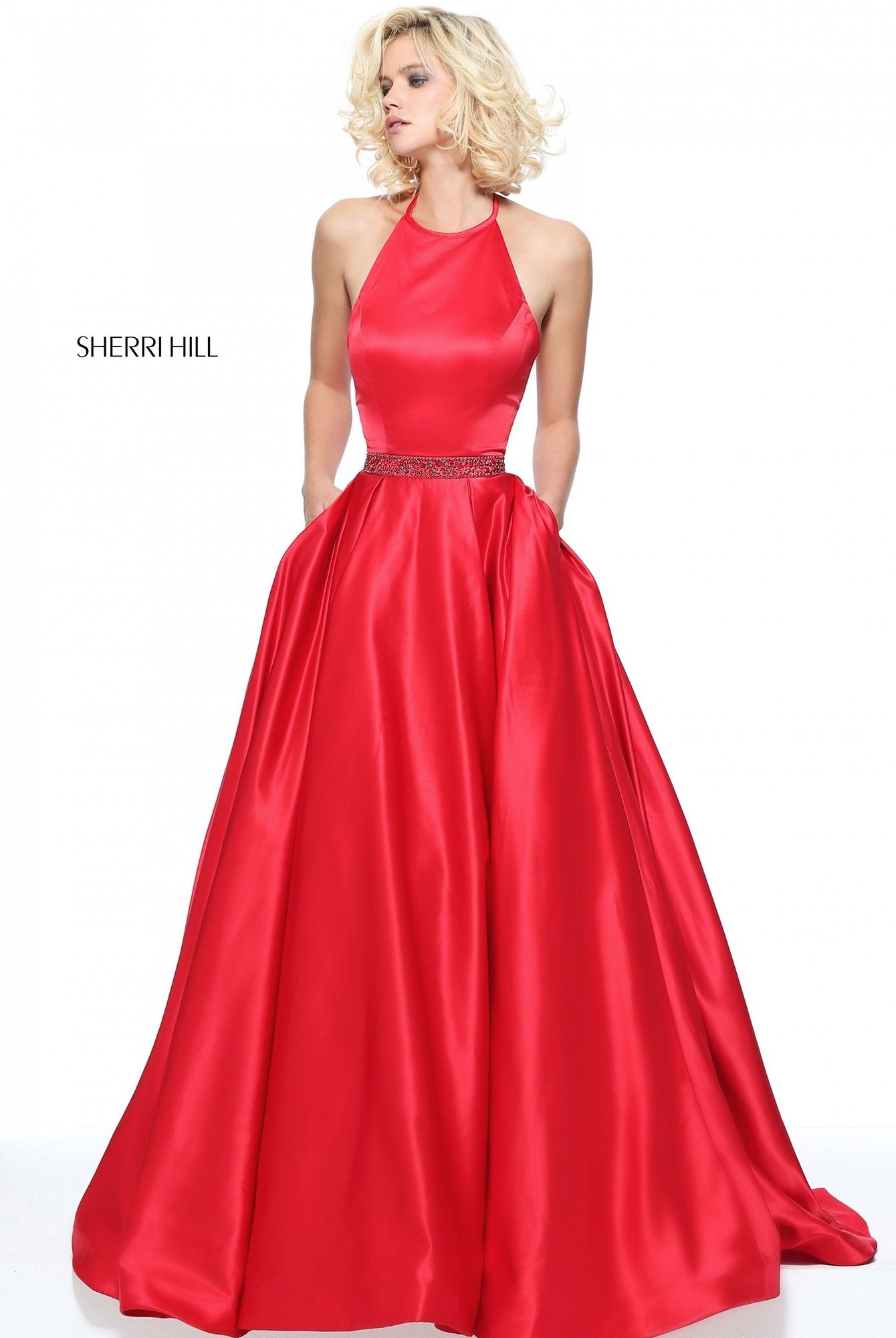 Sherri Hill 51036 Alluring A-Line Satin Halter Dress