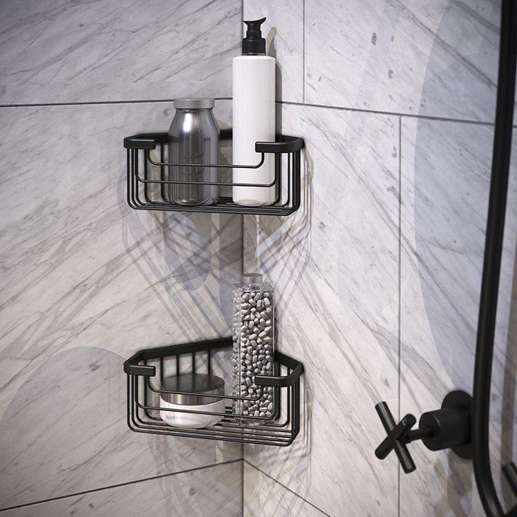 Set Of Matte Black Corner Shower Baskets Corner Shower Shower Basket Shower Shelves