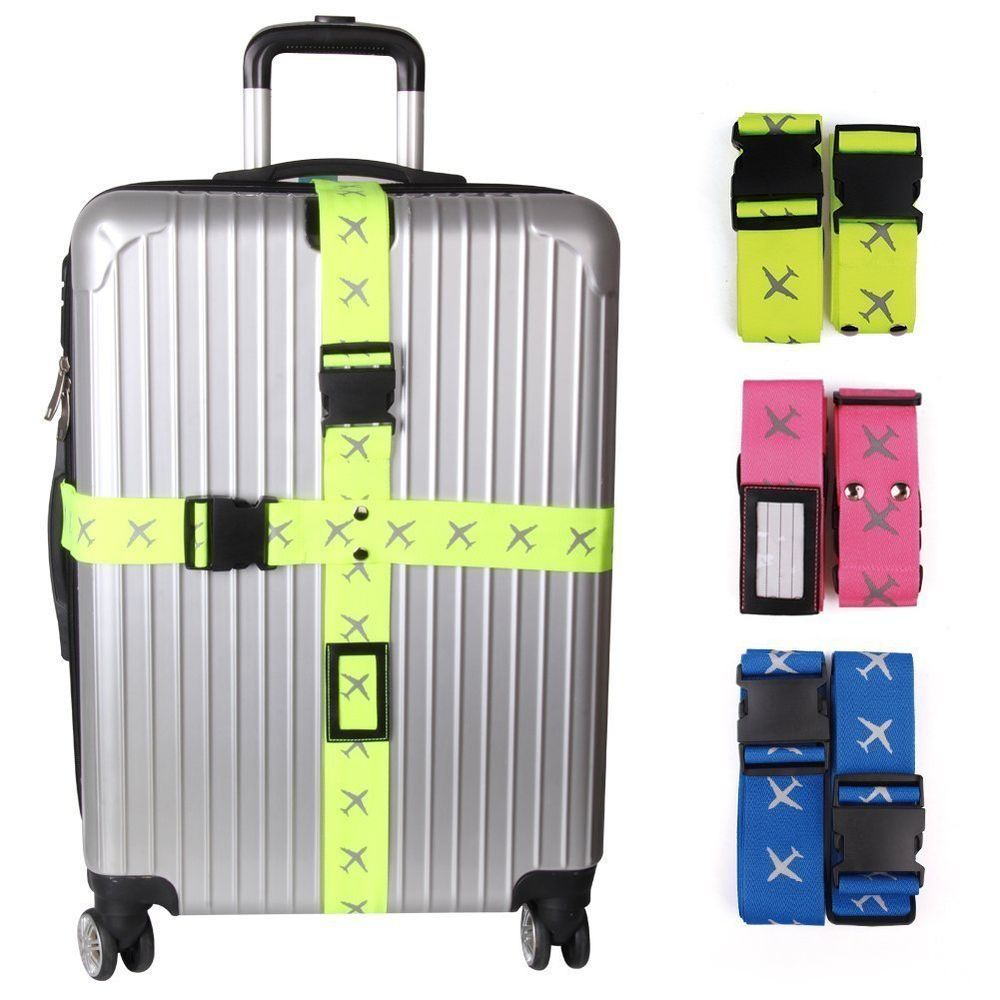 Luggage Straps Adjustable Long Suitcase Travel Belt Strap Cross ...