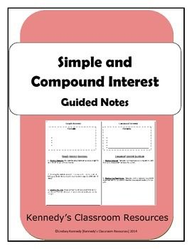 Simple and Compound Interest - Guided Notes | Middle school