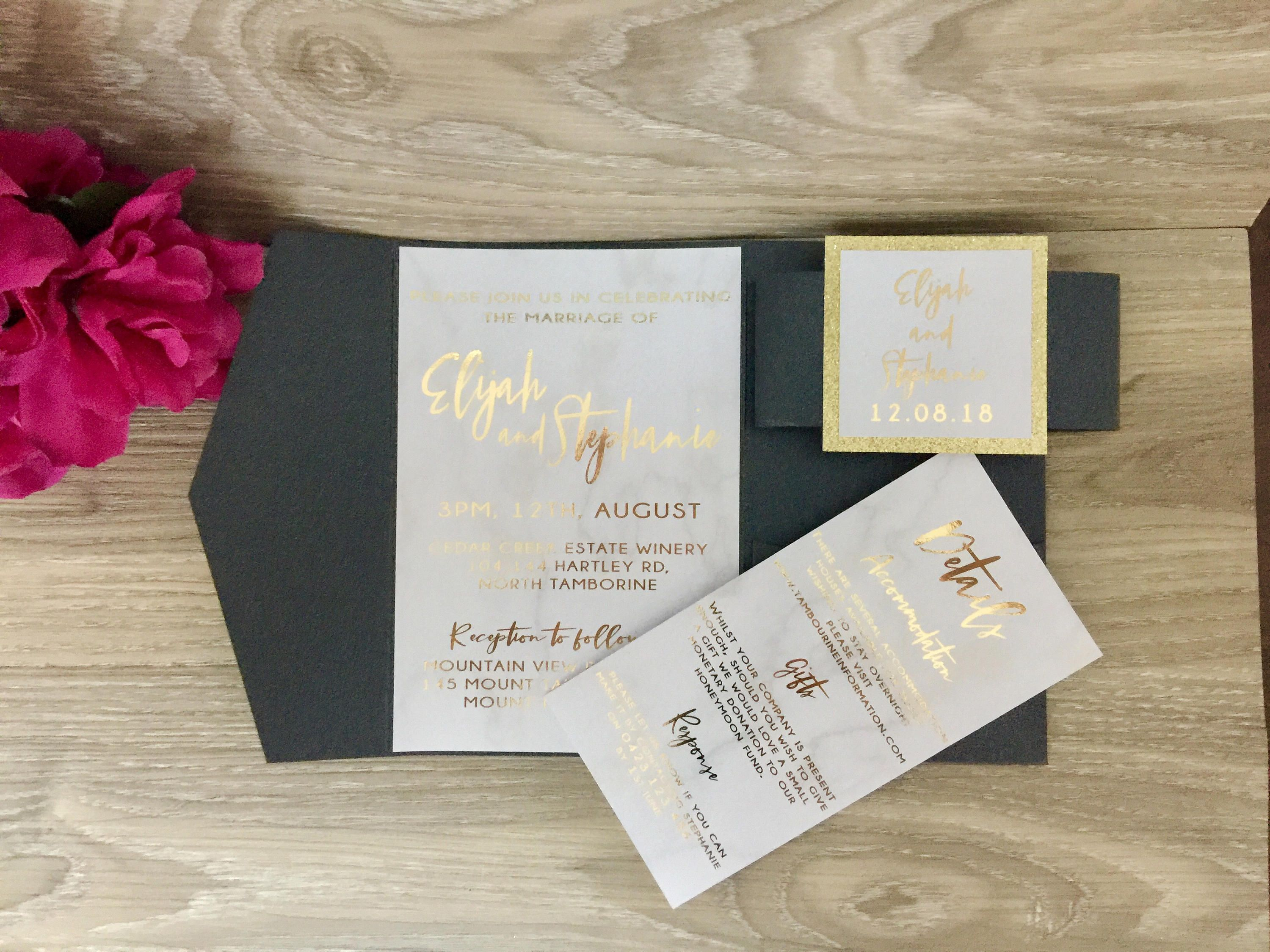 Marble And Gold Invitation Foil Wedding Sample Pocket Fold Set Printed By Glitzyprints