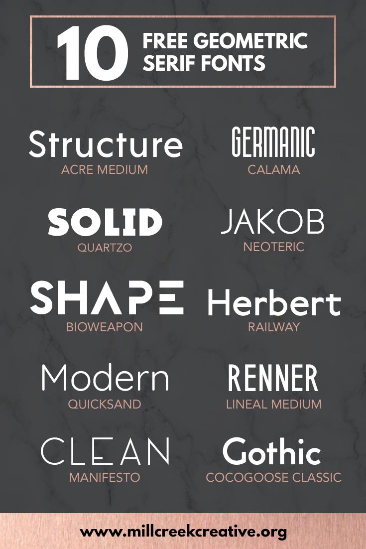 10 Free Geometric Fonts Mill Creek Creative Geometric Font Free Typography Fonts Good Fonts For Posters