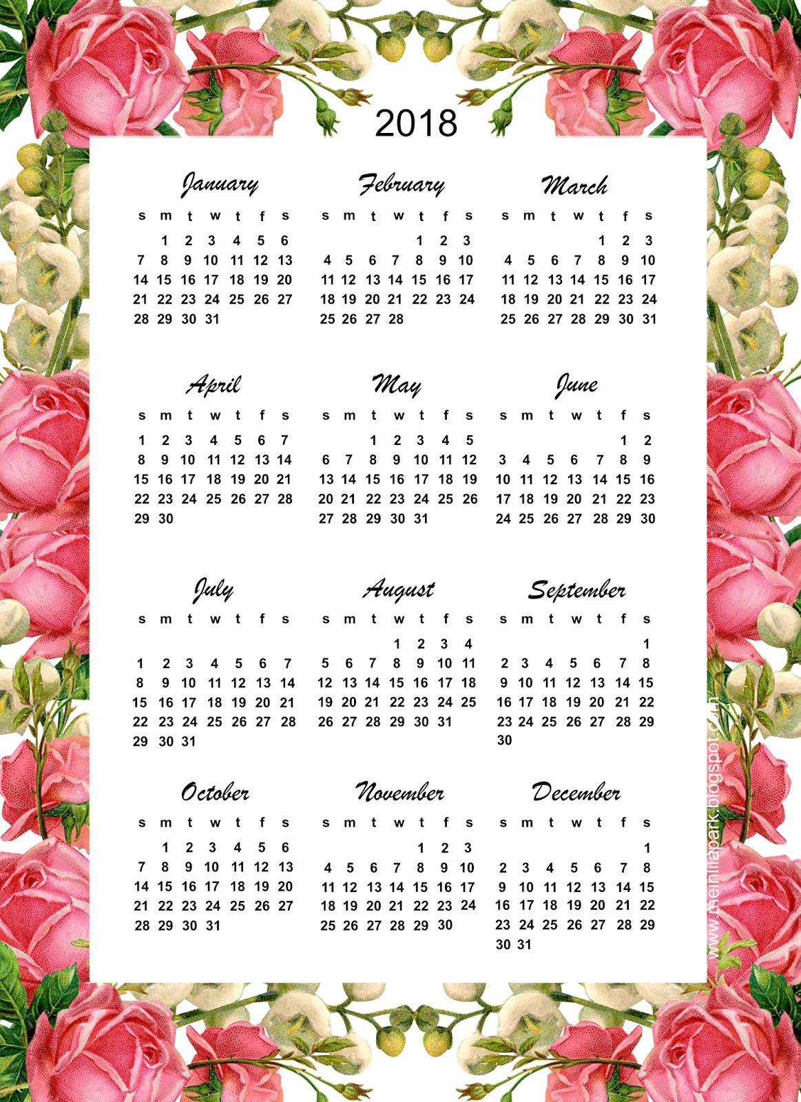 Free printable 2018 calendar rose calendar calendar pinterest free printable free for Pinterest printables