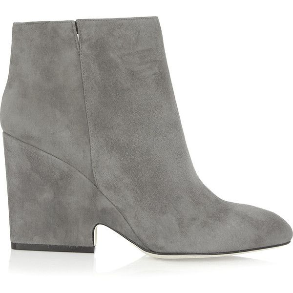 Jimmy Choo Myth suede ankle boots (£281) ❤ liked on Polyvore featuring shoes, boots, ankle booties, grey, suede boots, suede ankle booties, suede ankle boots, ankle boots and gray suede booties
