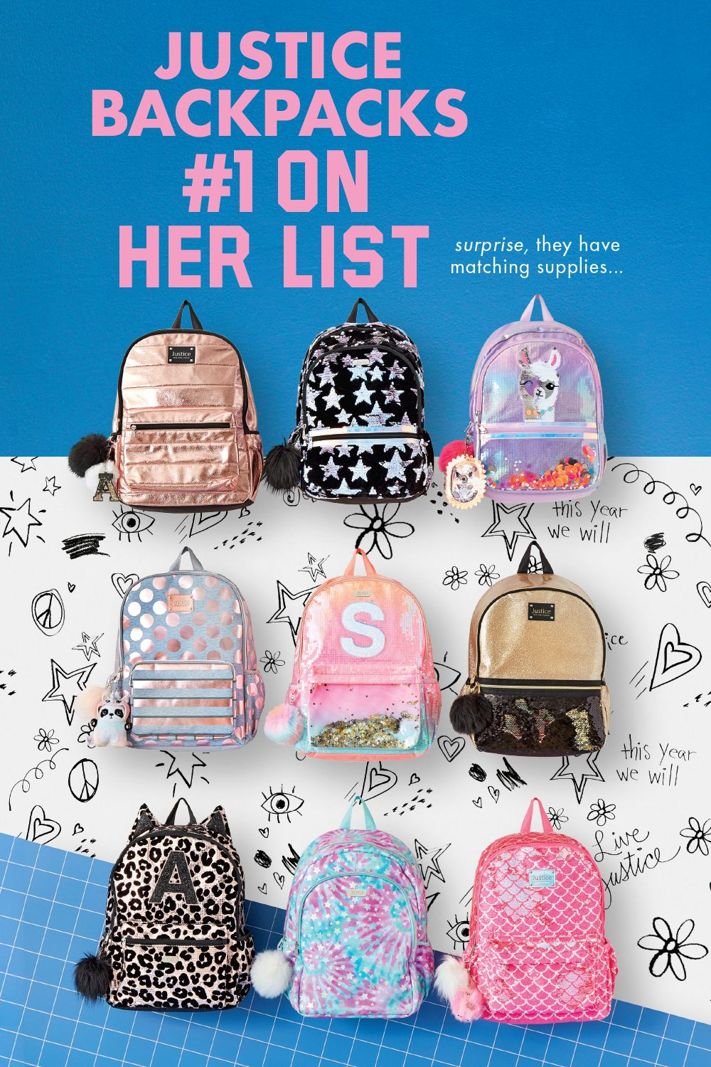 """NWT Justice Girls Bling Sequin Backpack /& Matching Lunchbox Set Letter """"A"""""""