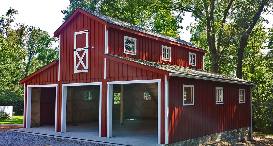2 car prefab garages horizon structures home idea for Red barn prefab