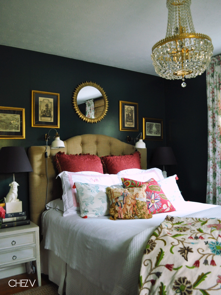 Dark Wall With Pretty Florals, Tufted Headboard, Chandelier