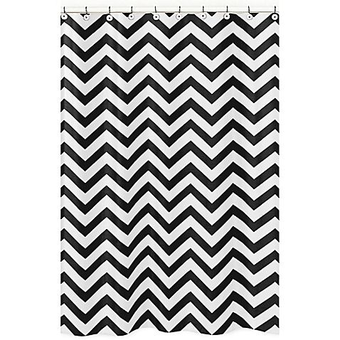 Sweet Jojo Designs Chevron Shower Curtain In Black And White